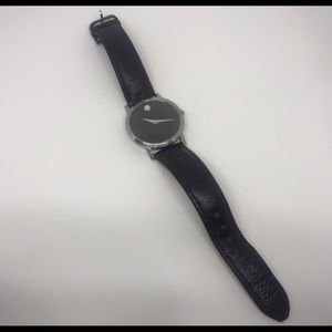 Movado Accessories - Movado Classic Black & Silver Leather Strap Watch